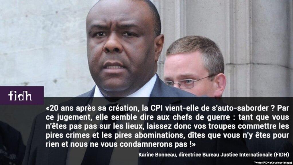 """La Fédération internationale des droits de l'homme (FIDH) se demande si la Cour pénale internationale ne s'est pas """"auto-sabordée"""" en acquittant Jean-Pierre Bemba, 8 juin 2018. (Twitter/FIDH)"""