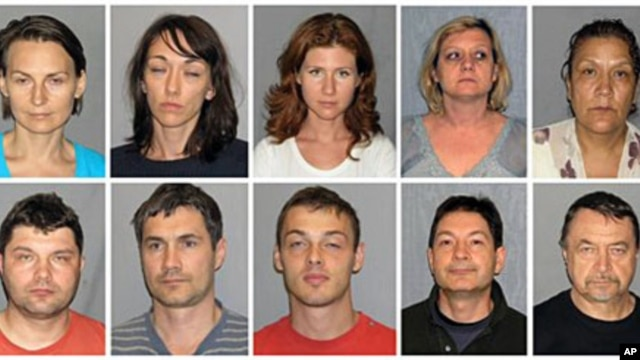 A combo of undated booking photos provided by the US Marshals Service on 29 Jul 2010 shows individuals charged with acting as unregistered foreign agents for Russia