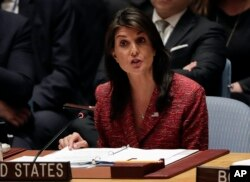 FILE - United States Ambassador to the United Nations Nikki Haley speaks during a Security Council meeting, April 10, 2018, at United Nations headquarters.