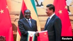 2014年8月25日,津巴布韦总统穆加贝访问中国。图为中国国家主席习近平在人民大会堂举行的欢迎仪式上与穆加贝(左)握手。