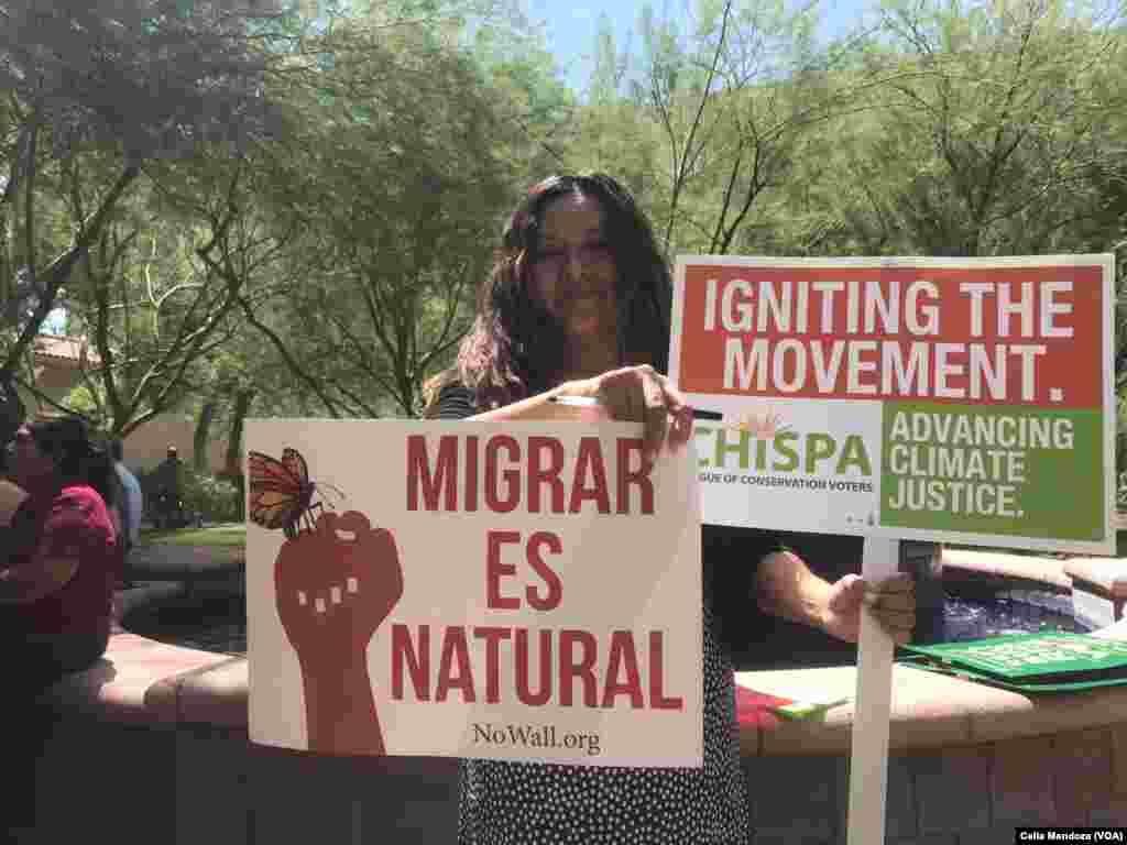 A pocas horas de la visita de Trump a Phoenix Arizona, migrantes manifestan su inconformidad contra políticas del actual Gobierno.