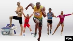 De izquierda a derecha, Michael Phelps, Kim Un Guk, Usain Bolt, Erick Barrondo y Gabrielle Douglas.