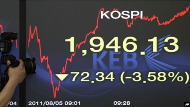 A photographer takes pictures of a screen showing the Korea Composite Stock Price Index at the Korea Exchange Bank headquarters in Seoul, South Korea, August 5, 2011