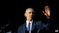 د جمهور رئیس براک اوباما د خدای پامانۍ په وینا کې د خلکو نه وغوښتل چې د بدلون لپاره دې لاس یو کړي