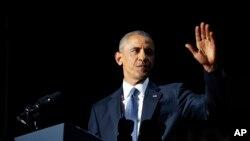 AQSh Prezidenti Barak Obama Chikagoda so'nggi bor xalqqa murojaat qildi, 10-yanvar, 2017-yil.