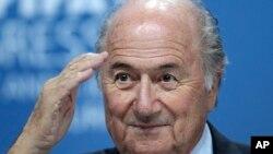 Sepp Blatter lors d'une conférence de presse à Zurich, le 26 février 2016.