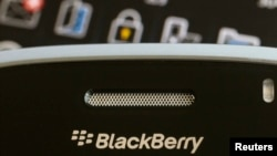 FILE - A Blackberry smartphone is displayed in this illustrative photo.