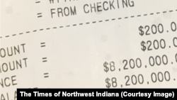 Charles Calvin's ATM receipt showing a bank balance of $8,200,000. Calvin's bank believes the error was due to the ATM, the Times of Northwest Indiana reported Monday. April 13, 2020.