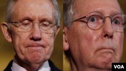Senator AS Harry Reid (kiri) dan Mitch McConnell menyepakati perjanjian perdagangan bebas.