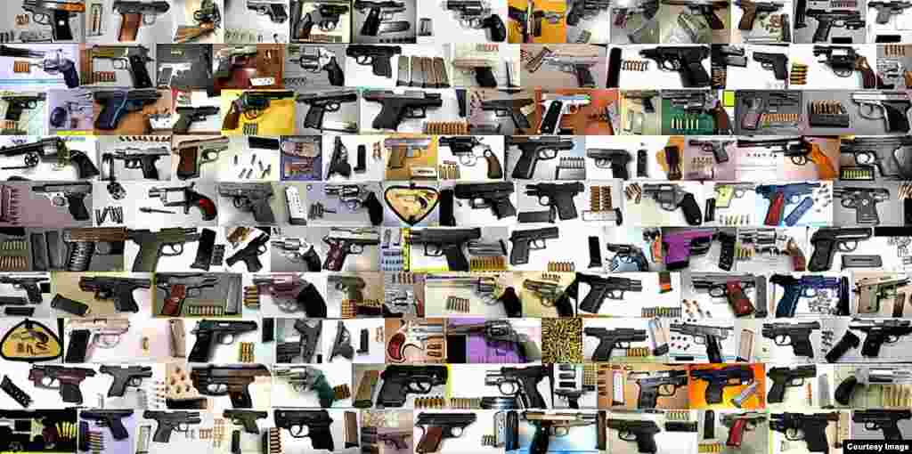 Kolase foto senjata api yang ditemukan TSA. TSA menemukan 1.813 senjata api di tas penumpang pada 2013, atau naik 17 persen dari 2012.