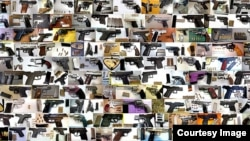 FILE - Guns seized at U.S. airports by the TSA are seen in this collage.