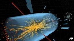 Snimak sudara subatomskih čestica, kakvim je otkriven dugo neuhvatljivi Higsov bozon