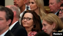 U.S. Central Intelligence Agency director nominee Gina Haspel center, attends Secretary of State Mike Pompeo's ceremonial swearing-in at the State Department in Washington. May 2, 2018.