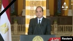 Egyptian President Abdel Fattah el-Sissi gives a televised statement on the attack in North Sinai, in Cairo, Nov. 24, 2017 in this still taken from video.