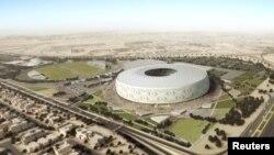 """Stadion Al Thumama yang dirancang oleh arsitek Qatar membentuk kopiah rajutan tradisional Arab atau yang disebut """"gahfiya"""" untuk perhelatan Piala Dunia 2022. (Foto:Reuters)"""