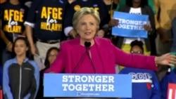 2016-11-04 美國之音視頻新聞: 克林頓川普同時到北卡競選 繼續互相抨擊