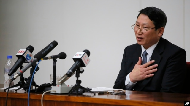 Kim Jung-wook, a South Korean Baptist missionary, speaks during a news conference in Pyongyang, North Korea, Feb. 27, 2014.