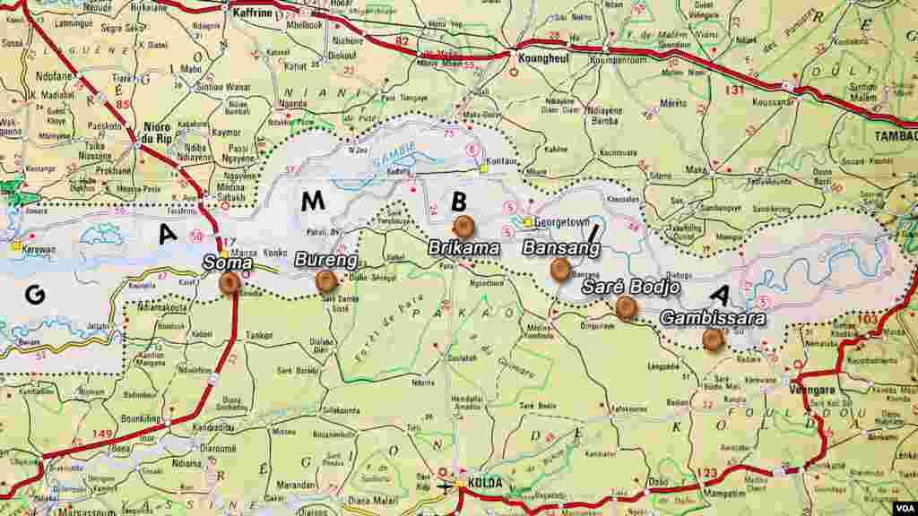 Carte de Gambie (IGN) avec localisation des dépôts de bois servant au trafic (Haidar el Ali)