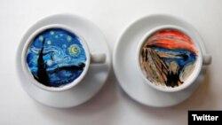 برخی از نقاشی های که لی در روی قهوه ترسیم کرده است.