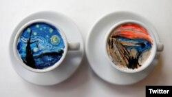 دو نمونه از قهوه هایی که «لی کَنگ بین» به دست مشتریانش می دهد.