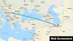 نقشه نشان دهنده پرواز از فرودگاه تهران به فرودگاه بلگراد در صربستان