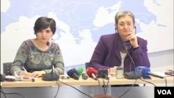Urlike Lunaček, izvestilac Evropskog parlamenta za Kosovo (desno)