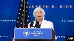 Treasury secretary nominee Janet Yellen speaks after US President-elect Joe Biden announced his economic team at The Queen Theater in Wilmington, Delaware, on December 1, 2020