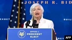រូបឯកសារ៖ អ្នកស្រី Janet Yellen ដែលលោក Biden បានតែងតាំងជារដ្ឋមន្រ្តីក្រសួងហិរញ្ញវត្ថុ ថ្លែងនៅមហោស្រព Queen ក្នុងក្រុង Wilmington រដ្ឋ Delaware កាលពីថ្ងៃទី១ ខែធ្នូ ឆ្នាំ២០២០។