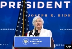 Treasury secretary nominee Janet Yellen speaks after US President-elect Joe Biden announced his economic team at The Queen Theater in Wilmington, Delaware, on December 1, 2020