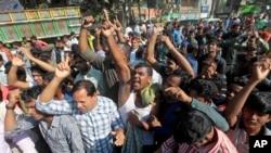 Những người ủng hộ đảng đối lập, Đảng Dân tộc Bangladesh, trong cuộc bãi công ở Dhaka