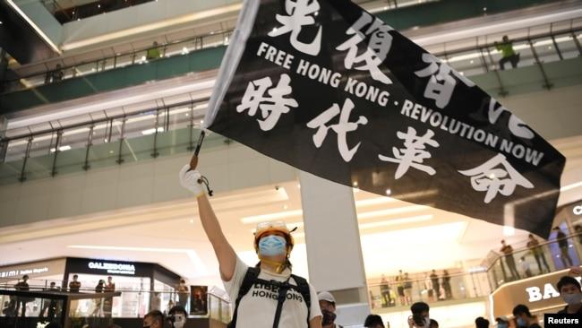 一名支持民主的活动人士在抗议活动中挥舞着横幅。(2020年6月12日)