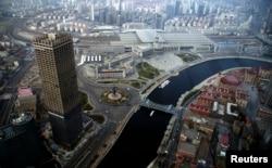 在天津的环球金融中心鸟瞰天津市中心