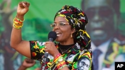 FILE - Zimbabwe's first lady, Grace Mugabe, greets supporters at a rally, July 29, 2017.