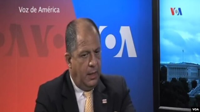 FILE - President Luis Guillermo Solís  of Costa Rica in an interview with VOA's Latin America division.