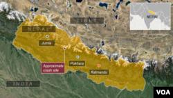 Peta lokasi jatuhnya pesawat di Nepal.