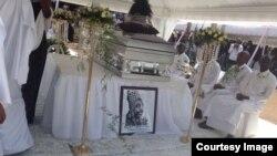 Umugogo w'umwami Kigeli V Ndahindurwa watabarijwe i Mwima ya Nyanza mu majyepfo y'u Rwanda.