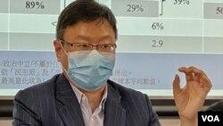 陳家洛預計,今年12月的香港立法會選舉投票率有可能創新低至少於4成投票率。(美國之音湯惠芸攝)