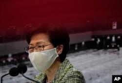 香港特首林鄭月娥在星期五的記者會上。 (2020年8月7日)