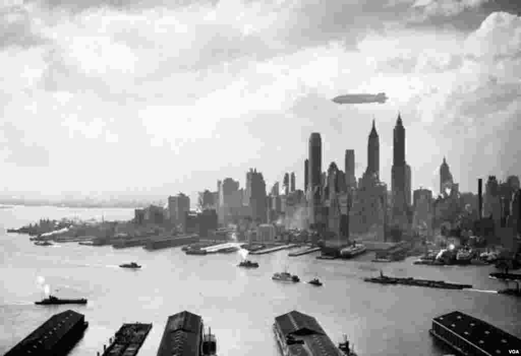 Qəzaya uğramazdan bir neçə saat öncə Hindenburqun Manhattan üzərindən uçarkən çəkilmiş fotosu. 6 may, 1937.