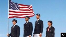 拉尔夫.劳伦公布的产品图片显示美国奥运队员身穿美国队奥运会开幕式制服 (AP/Ralph Lauren)