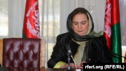 FILE - Afghan MP Shukria Barakzai is shown during a parliament meeting in Kabul, Afghanistan, November 2014.