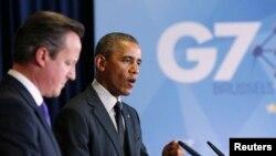美國總統奧巴馬(右)6月5日在布魯塞爾峰會上與英國首相卡梅倫。