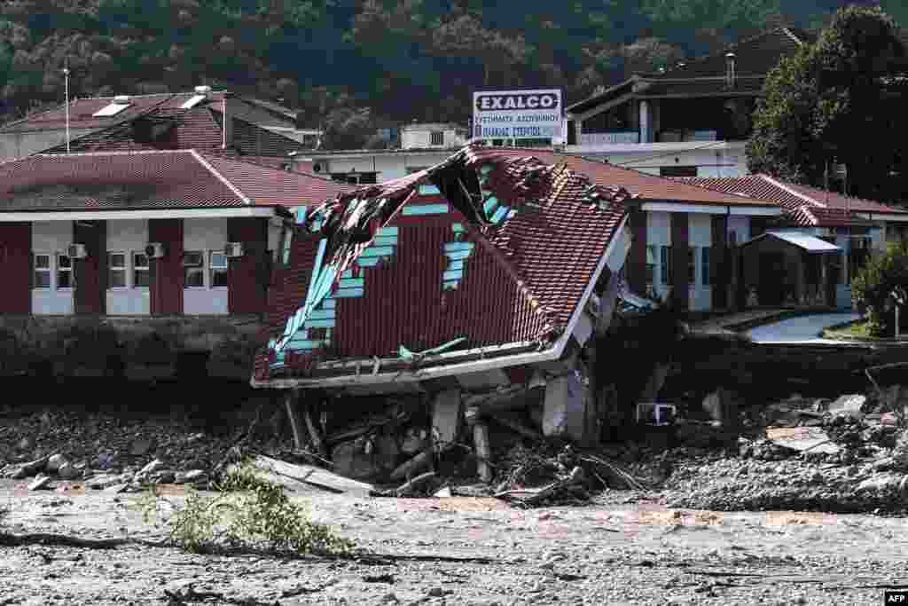 A heavily damaged health center in Mouzaki, central Greece, after the floods caused by the Mediterranean hurricane (Medicane) Ianos.