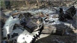 لاشه هلیکوپتر سرنگون شده در ولایت وردک در حومه کابل. افغانستان ۱۱ اوت ۲۰۱۱