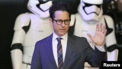 "FILE - Director J.J. Abrams arrives at the European premiere of ""Star Wars, The Force Awakens"" in Leicester Square, London, Dec.16, 2015."