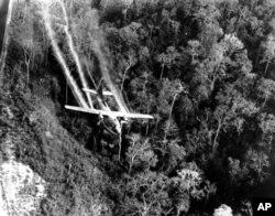 Trong Chiến tranh Việt Nam, quân đội Mỹ thả xuống khoảng 77 triệu lít hóa chất khai quang màu cam.
