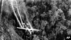 Tấm ảnh chụp tháng 5/1966 cho thấy một máy bay của không lực Hoa Kỳ đang rải chất độc hóa học xuống 1 khu rừng trong cuộc chiến tranh Việt Nam. Mỹ đã đền bù khoảng 2 tỷ đô la cho những cực chiến binh Mỹ bị ảnh hưởng của chất độc màu da cam nhưng nhiều người Mỹ cho rằng chính phủ của họ chưa làm đủ trong việc đền bù cho nạn nhân ở Việt Nam.