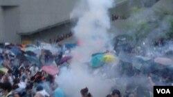 香港争取真普选的雨伞运动(资料照片 美国之音海彦拍摄)