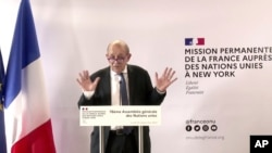 FILE - In this photo taken from video, France's Foreign Minister Jean-Yves Le Drian speaks during a news conference, Sept. 20, 2021, in New York.