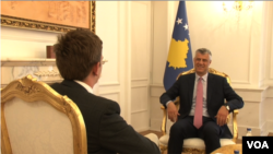 Kosovo's president, Hashim Thaci, gives an exclusive interview to VOA's Albanian service, April, 15, 2016.
